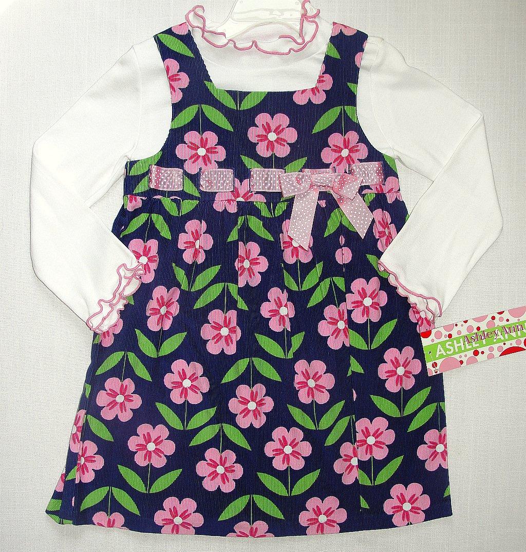 ASHLEY ANN Girl's Size 4 Floral Corduroy Dress Set, NEW