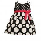 JESSICA ANN Girl's 6-9 Months Black White Dot Sundress, Dress Set, NEW