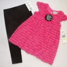 RARE, TOO! Girl's Size 4T Pink Eyelash Tunic Shirt, Black Leggings Outfit, NEW