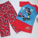 DISNEY MICKEY MOUSE Boy's Size 4T 3-Piece SKATEBOARDING Pajama Pants Set, NEW