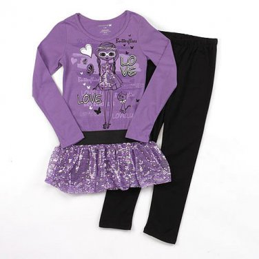ONE STEP UP Girl's Size 4 Purple Tutu Tunic Black Leggings Outfit, Set, NEW