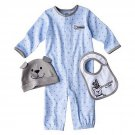 JUST ONE YOU Boy's Size 6 Months DOGS Romper, Bib, Hat Set, NEW