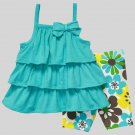 CARTER'S Girl's Size 3T Turquoise Tiered Tunic Top, Floral Capri Pants Set, NEW