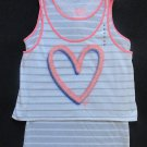 JUSTICE Girl's Size 10 Gray Striped Tank, Glitter Heart Half-Shirt Set, NEW