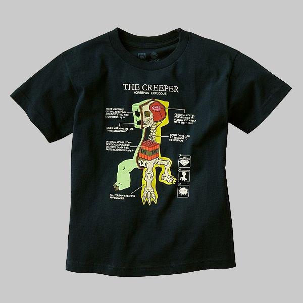 MINECRAFT ANATOMY OF A CREEPER Boy's T-Shirt, Shirt 18-20 NEW