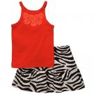 CARTER'S Girl's Size 3T Orange Floral Tank Top, Zebra Print Skort, Skirt, NEW