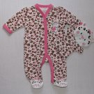 BEST BEGINNINGS Girl's Size Newborn Baby Cheetah Romper, Bath Mitt, Set, NEW