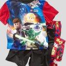 LEGO STAR WARS Boy's Size 4 3-Piece Pajama Pants, Shorts Set, YODA, R2-D2, NEW