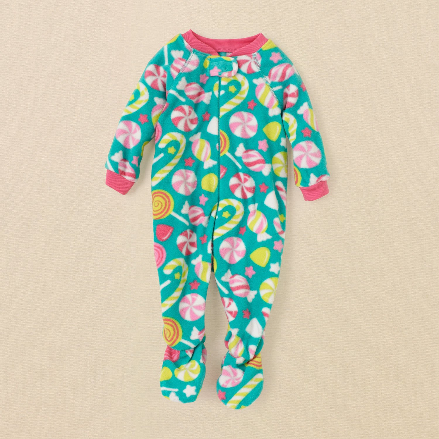 THE CHILDREN'S PLACE CANDY Girl's 3T Fleece Footed Pajama Sleeper, NEW
