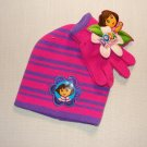 NICKELODEON DORA Girl's Pink Purple Striped Knit Beanie, Mitten Set, NEW