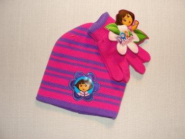 NICKELODEON DORA Girl's Pink Purple Striped Knit Beanie, Mitten Set, NEW