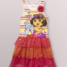 NICKELODEON Girl's DORA and BOOTS Size 4 Pink Tutu Dress, Sundress, NEW