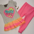 SELF ESTEEM Size 4 Heart Tutu Tunic, Pink Leggings, Pants Set, Outfit, NEW