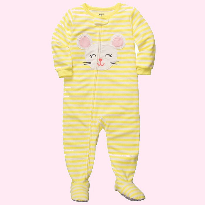 CARTER'S Girl's 4T Yellow Striped MOUSE Micro-Fleece Footed Pajama Sleeper NEW