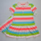 CARTER'S Girl's Size 12 Months Striped Colorful Polo Dress Set, NEW
