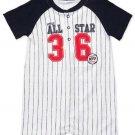 CARTER'S Boy's 3 Months Baseball All-Star Striped Romper, Shortalls, NEW
