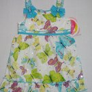 YOUNGLAND Girl's Size 18 Months White Turquoise Butterfly Sundress, Dress, NEW