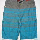 TONY HAWK Boy's Size 16 Turquoise Blue, Gray Striped Board Shorts, NEW