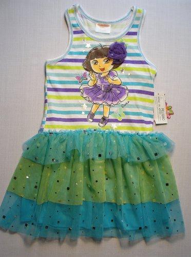 NICKELODEON Girl's DORA and BOOTS Size 5 Blue Tutu Dress, Sundress, NEW