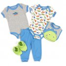 CARTER'S WATCH THE WEAR 0-3 Months 5-Piece DINOSAUR Outfit, Bib, NEW