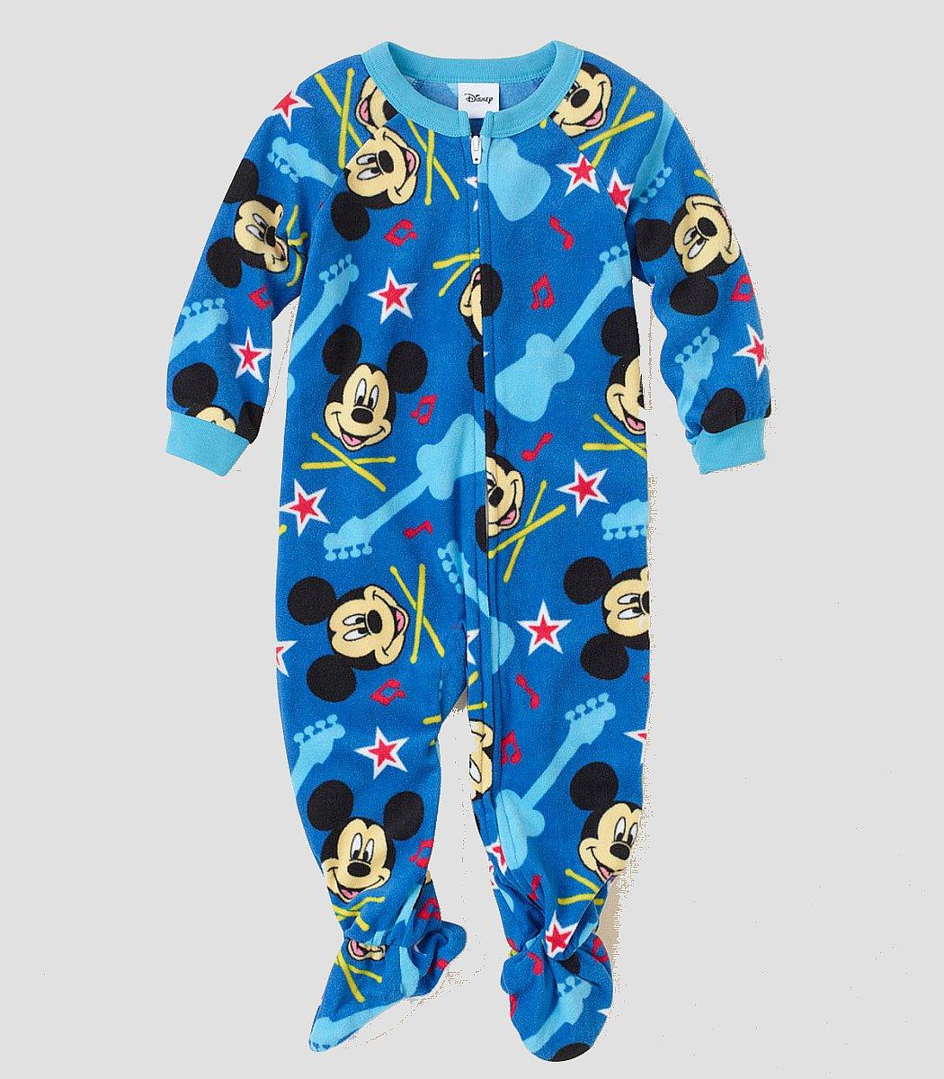 DISNEY MICKEY MOUSE ROCK Boy's 4T Blue Fleece Footed Pajama Sleeper