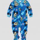 DISNEY MICKEY MOUSE ROCK Boy's 2T Blue Fleece Footed Pajama Sleeper