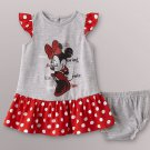 DISNEY BABY Girl's Size 3-6 Months MINNIE MOUSE Gray Dot Dress Set, NEW