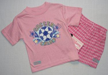 Wilson Girl's 12 Months Pink Soccer T-Shirt, Shirt, Tee, Plaid Shorts Set, Outfi