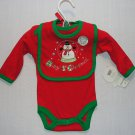BABY GEAR Baby Boys Girls 0-3 M Gift Snowman 1st Christmas Bodysuit Bib Set, NEW