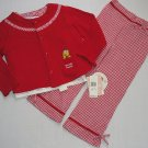 WALT DISNEY Girl's 3T Winnie The Pooh Shirt OCEAN, Checkered Pants, Sweater Set