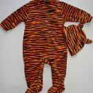 HALLOWEEN Boy's Size 6 Months Velour Tiger Footed Romper Costume, Hat Set, NEW