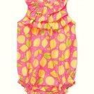 CARTER'S Girl's 6 Months Pink Lemon Summer Romper, Sunsuit, NEW