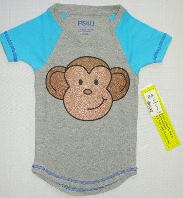 PS4U AEROPOSTALE Girl's Size 5 Monkey Raglan Sleep Shirt, Tee, NEW