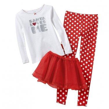 CARTER'S Girl's Size 5 SANTA LOVES ME 3-Piece Pajama TUTU Set, NEW