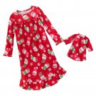JUMPING BEANS Girl's Size 4 Christmas Kitty Matching Doll Gown Set