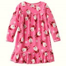CARTER'S Girl's Size 3T CHRISTMAS SANTA Snowflake Pink Fleece Nightgown, NEW
