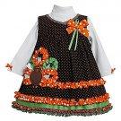 BONNIE JEAN Girl's Size 6 THANKSGIVING TURKEY Dot Dress Set, NEW