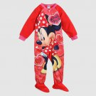 DISNEY MINNIE MOUSE Size 3T Red Hearts Pajama Sleeper, NEW