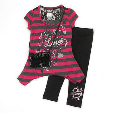 RMLA Girl's Size 5 LOVE Striped Tunic, Leggings, Purse Set, Outfit NEW
