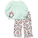 CARTER'S Girl's Size 4T PENGUIN Micro Fleece Pajama Pants Set, NEW