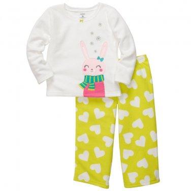 CARTER'S Girl's Size 5T Fleece Snow Bunny Pajama Pants Set, NEW