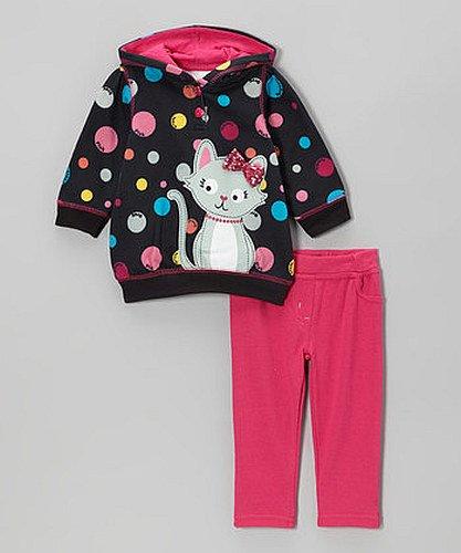 SESAME STREET Girl's Size 4T KITTY Color Dot Hooded Shirt, Pants Set, NEW