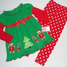 SOPHIE ROSE Girl's 4T Christmas Gingergbread Dress, Dot Leggings Set, NEW