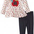 SESAME STREET Girl's Size 4T Fleece Apple Worm Shirt, Jeggings Set, NEW