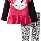 SESAME STREET Girl's Size 3T CAT Pink Tunic Dress, Leopard Leggings Outift