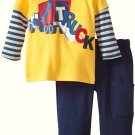 SESAME STREET Boy's Size 18 Months Moving TRUCK Shirt Pants Outfit, NEW
