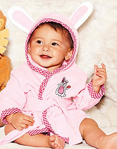 Tiny Tillia Girl's 0-9 Months Pink Michelle Bunny Rabbit Hooded Bath Robe, NEW