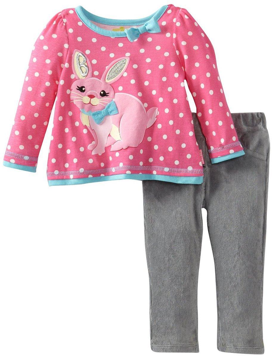 SESAME STREET Girl's Size 4T Pink Bunny Gray Corduroy Pants Set, NEW