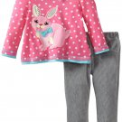SESAME STREET Girl's Size 4T Pink Bunny Gray Corduroy Pants Set, NEW