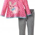 SESAME STREET Girl's Size 3T Pink Bunny Gray Corduroy Pants Set, NEW